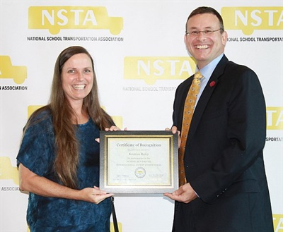 Kristina Raley from Vidor (Texas) Independent School District took the top spot in the Conventional Bus category of the School Bus Driver International Safety Competition. Photo courtesy NSTA