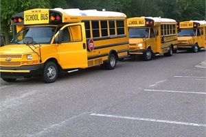 On July 20, 100 contestants competed in one of three categories: conventional, small bus, or transit.  Pictured here are buses used in the small bus category at West Ashley High School in Charleston, South Carolina.