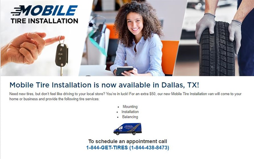 TBC is debuting a mobile tire installation service in Dallas. It will be offered through select NTB Tire & Service Centers in the metro area.
