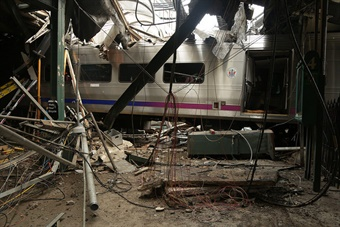 NJ Transit Pascack Valley Line train #1614 crashed at the New Jersey Transit Hoboken Terminal Sept. 29, 2016. NTSB photo by Chris O'Neil