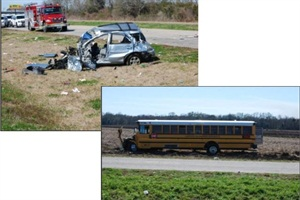 In a crash in Louisiana in February, an SUV's tire tread separated, and the vehicle collided with a school bus carrying a high school baseball team. Photos from NTSB