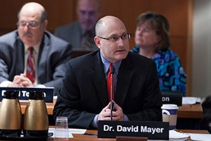 NTSB Managing Director David Mayer provides an opening statement during the Tuesday board meeting on the Chesterfield, N.J., school bus and truck crash.