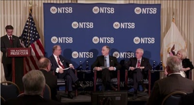 The NTSB released its 2019-2020 Most Wanted List of Transportation Safety Improvements, prioritizing issues such as strengthening occupant protection and implementing collision avoidance systems. Shown here is a screen shot from video of the agency's meeting at the National Press Club.