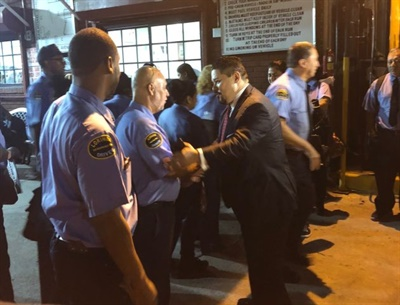 Richard Carranza, the new schools chancellor for the New York City Department of Education, greeted Logan Bus Co. drivers at the company's headquarters.