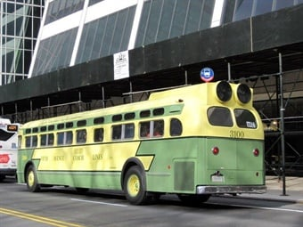 ) Bus 3100 in NYCT Museum fleet. First A/C transit bus to operate in New York City. The demonstrator was purchased by Fifth Avenue Coach Lines from General Motors.