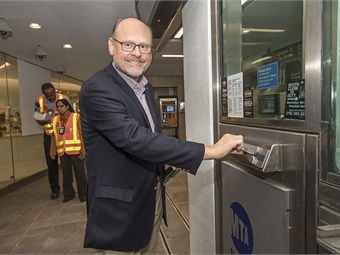 Former MTA Chairman Joe Lhota attending the Sept. 8, 2018 reopening of the WTC Cortlandt 1 Station. Photo: NY MTA