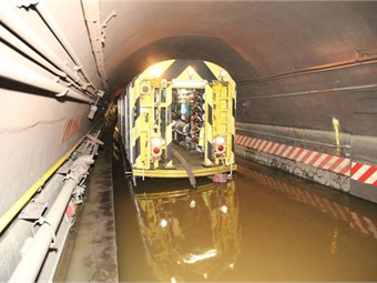 A 2016 photo of a New York City Transit railcar in a tunnel flooded by Superstorm Sandy. Photo: NY MTA