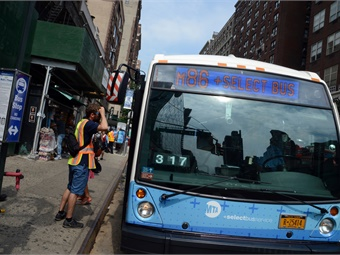 Cameras mounted on NYCT's buses serving the M15 Select Bus Service route will begin capturing real-time violations starting October 7.Marc A. Hermann/MTA