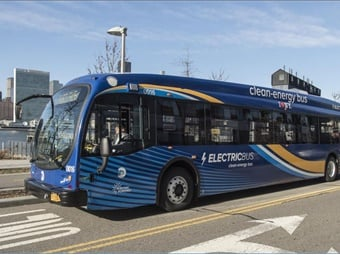 New York MTA's electric bus pilot using a Proterra battery electric bus.