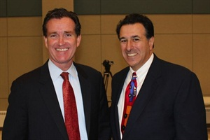 New York Sen. John Flanagan (left) worked on making the state's RFP law permanent with the New York School Bus Contractors Association, including board member Phil Vallone, owner of Rolling V Transportation Services.