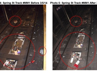 New York City train tracks before (left) and after (right) they were cleaned by a vacuum train. NYC Comptroller's Office