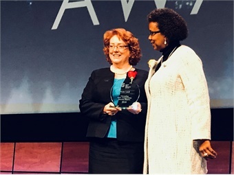 Natalie Cornell, Director of Business Development, LTK Engineering Services, located in Amber, Pa., received the 2018 Outstanding Public Transportation Business Member Award. Photo: METRO Magazine