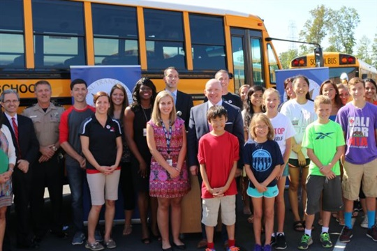 A back-to-school event held by the National Transportation Safety Board will include a demonstration on school bus safety. Pictured is the 2013 edition of the event. Photo courtesy NTSB