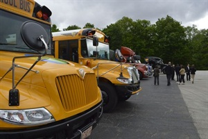 On Tuesday, journalists were invited to get behind the wheel of Navistar's school buses and trucks at the 668-acre site in Indiana.