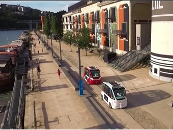 The two electric vehicles, fitted with high-tech equipment including laser sensors, stereo vision and GPS, can ferry around 15 passengers at a top speed of 12 mph. Manufactured by the French firm Navya and costing $225,000 apiece, a prototype was tested in 2013. Photo: Screenshot via Nayva video
