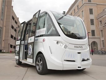 The Navya autonomous shuttle was on campus in November 2017 for a public viewing. Photo: Renee Meiller