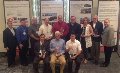 Vendors honored by the Automotive Distribution Network at the program group's fall membership meeting display their awards.