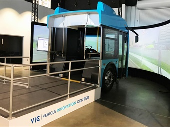 The simulator's main objective is to support driver training specific to regenerative braking, an energy-saving technique drivers can employ in conserving battery-electric energy.