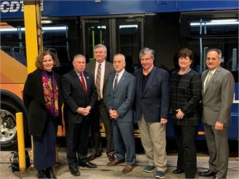 The buses were unveiled during a launch event and demonstration ride facilitated by CDTA CEO Carm Basile (center) and CDTA Board Chairman Jayme Lahut, alongside Congressman Paul Tonko and New York State Assembly members Patricia Fahy, Phillip Steck, and John T. McDonald III. New Flyer/CDTA