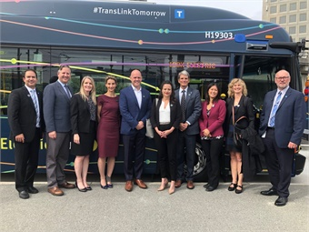 The launch of the battery-electric buses was celebrated in Vancouver, with representatives from TransLink, CUTRIC, New Flyer, and all levels of government in attendance.