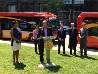 Left to right: Mayor Muriel Bowser; DC Councilmember Mary Cheh; Paul Smith, executive VP, sales & marketing, New Flyer of America; DDOT Deputy Director Jeff Marootian; DC Councilmember and WMATA Chair Jack Evans; and DDOT Director Leif Dormsjo.