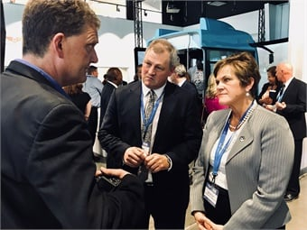 FTA Acting Administrator Jane Williams tours the Vehicle Innovation Center with NFI Group CEO Paul Soubry (center). Photo: METRO Magazine
