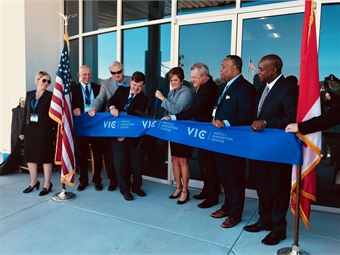 U.S. Federal Transit Administration (FTA) Acting Administrator Jane Williams (center), along with several elected officials and industry leaders, delivered remarks at the grand opening ribbon cutting celebration in Anniston, Ala. on Oct.12. Photo: METRO Magazine
