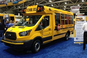 New micro bird type a bus turns heads at trade show management according to blue bird the t series bus bodys aerodynamic features aid in increasing publicscrutiny