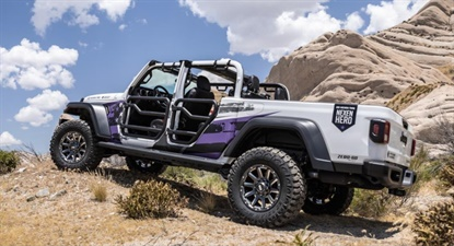 The Jeep Gladiator, one of the first sold in the U.S., features 35-inch Nexen Roadian MTX Xtreme tires and Grid G5 Off-Road Wheels, plus leather seats and several Mopar custom trim elements.