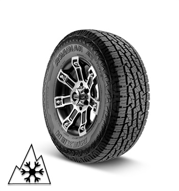 Nexen says the Roadian AT Pro RA8 comes with up to a 50,000 mile limited warranty and 36 months of roadside assistance. As of June 2019, it's certified with the Three Peak Mountain Snow Flake symbol.