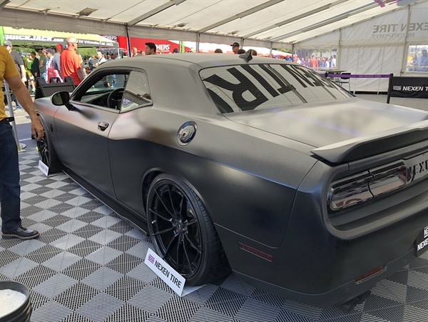 Visitors to the Nexen booth at the 2018 SEMA Show could look over the 2018 Dodge Challenger R/T 392 Scat Pack to be presented to a Purple Heart recipient as part of the American Muscle for American Heroes program, as well as examine the Nexen products on display.