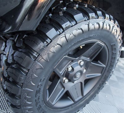 """Nexen says the new Roadian MTX Xtreme mud and off-road tire features patented, optimized block positions for superior noise reduction and offers world-class performance at a sensible price point. Dual sidewalls are available; the """"Beast"""" sidewall design is shown. The """"Machine"""" pattern is on the other side."""