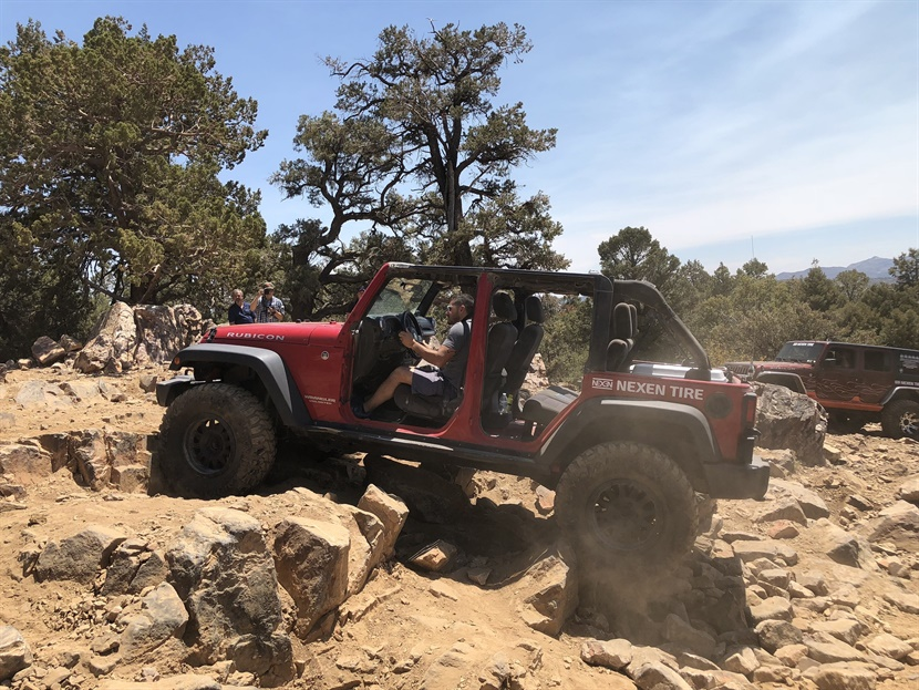 """Wes Myers of Allen Rubber Co. practiced his rock crawling skills at the Roadian MTX ride-n-drive event and says Nexen's technology is """"cutting edge and they are always improving their product."""""""