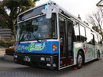 "The Kumamoto EV Bus, named ""Yoka ECO Bus,"" will feature three batteries, three electric motors and an inverter from the Nissan LEAF. Photo: Nissan"