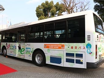 Rear view of the Kumamoto EV Bus. Photo: Nissan