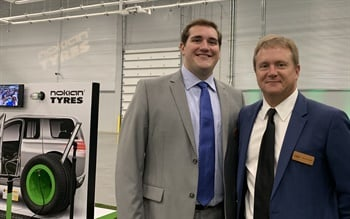 Tire dealers from all over the U.S. and Canada attended the Nokian opening, including the father-son duo of Mark (right) and Sam Rhodes from Plaza Tire Service Inc. in Missouri.
