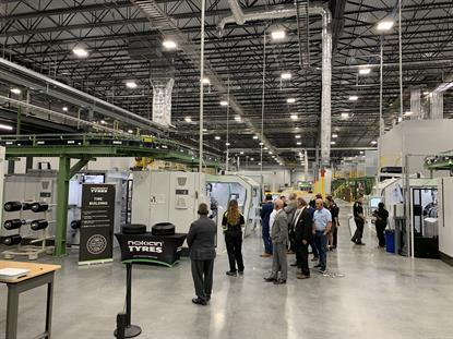 Nokian employees guided tire dealers and other guests through the Dayton, Tenn., factory during grand opening festivities in October 2019.