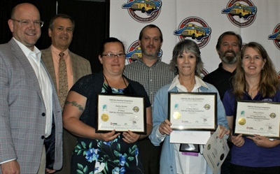 The North Carolina Pupil Transportation Association recently held the first statewide school bus routing competition. Shown here are the top contestants with (from left) Sam Bull, Edulog COO; author and Edulog consultant Derek Graham; Kevin Hart, TIMS project leader for the ITRE; and Andy Leibenguth, Edulog's North Carolina account manager.