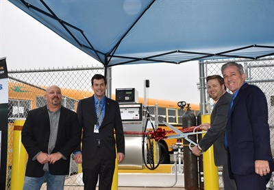North Penn School District in Lansdale, Pa.,unveiled its 14 new Blue Bird Vision Propane and Micro Bird busesas well as apropane fueling station during a ribbon-cutting ceremony on Wednesday. Photo courtesyNorth Penn School District
