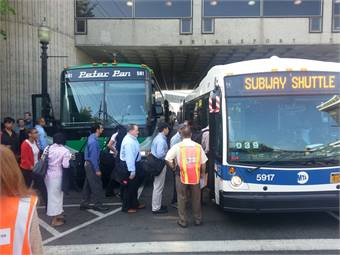 The bus operation went according to plan on Monday with 120 buses on hand and no crowding reported.