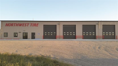 This Williston, N.D., store was built from the ground up three years ago. It is one of four Northwest Tire stores that serves both consumer retail and commercial business customers from under one roof.