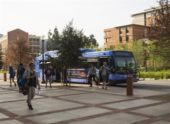 UCLA's campus has a daily population of 76,000 people and experiences 68,000 ride-hailing stops per week. Photo: UCLA