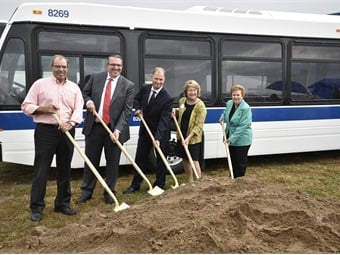 (L to R): Ted Luck, president of Luck Brothers; Stéphane Leblanc, VP, operations, Volvo Buses North America; Ralph Acs, sr. VP, Volvo Buses Business Region Americas; Betty Little, N.Y. state senator; and Janet Duprey, New York State assemblywoman.