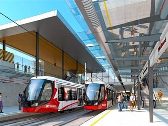 The Confederation Line runs about eight miles and connects Ottawa's Tunney's Pasture and Blair Stations.