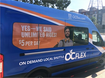 OCTA's OC Flex microtransit service uses wheelchair-accessible shuttles to provide on-demand service for $4.50 using the mobile app, or $5 cash on board.
