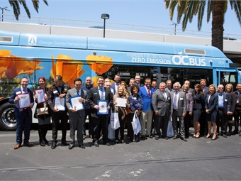 At Monday's unveiling of the new bus, OCTA officials were joined by representatives from several state congressional offices and by representatives from partnering agencies and transportation companies. They included: Federal Transit Administration, Center for Transportation and the Environment, Ballard Power Systems, ElDorado National-California and BAE Systems.