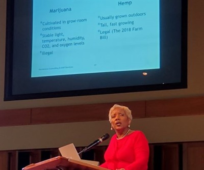 Shown here is speaker Gené Henderson, who discussed misinformation about CBD oil. Photo courtesy Chris Ellison