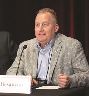 """Panelist Bruce Besancon of Yokohama sees intermodal increasing at a very rapid pace. """"It's taking off."""""""