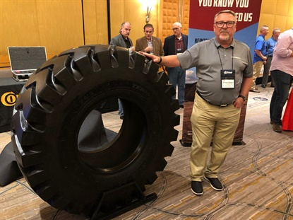 The new General TE188, an E-3 product, is designed for loaders, graders and small articulated dump trucks, says Continental's Shawn Rasey (pictured at the Tire Industry Association OTR Tire Conference.)