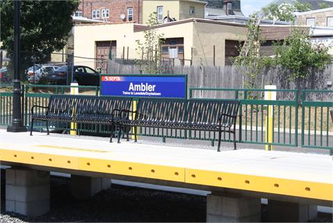 Another platform at the Ambler Station. The short train ride to and from Philadelphia from this station has made the town desirable for businesses, restaurants and real estate.